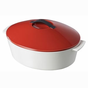 Revol Revolution 4.75 Qt Oval Cocotte w/Lid - Pepper Red - 642323