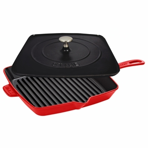 "Staub American Square Grill - 12"" Grill/Press Combo - Cherry - 1209906"