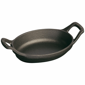 "Staub Mini Oval Dish - 8oz - 5 1/2"" - Black Matte - 1301323"