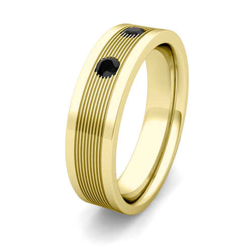 3 Stone Black Diamond Mens Wedding Band 18k Gold Comfort Fit Ring