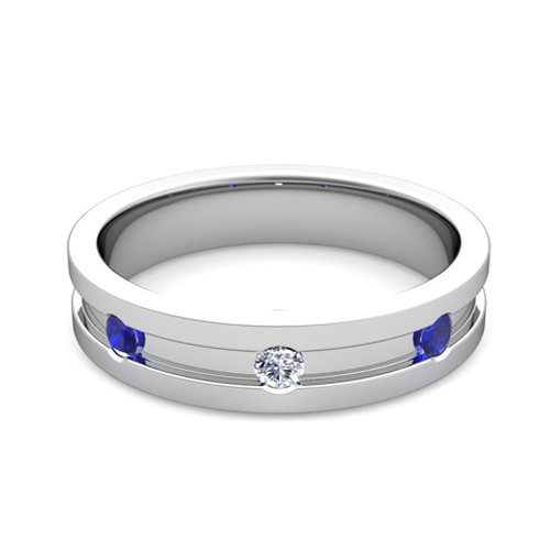 Order Now Ships On Wednesday 12 20Order In 5 Business Days 3 Stone Diamond Sapphire Mens Wedding