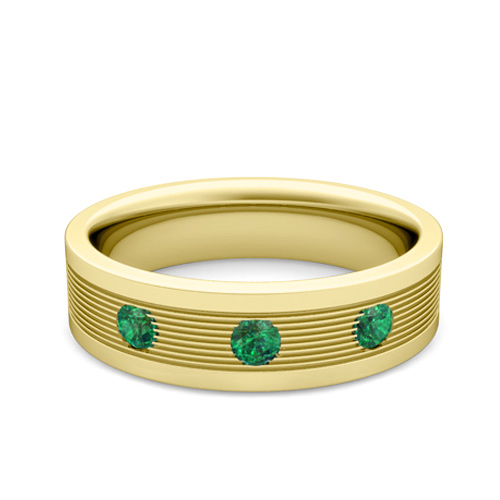3 Stone Emerald Mens Wedding Band in 18k Gold fort Fit Ring