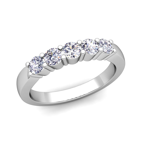 build 5 stone wedding anniversary ring band with diamonds and