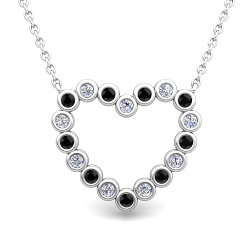 Black diamond heart necklace all collections of necklace bezel black and white diamond heart necklace in 18k gold pendant aloadofball Image collections