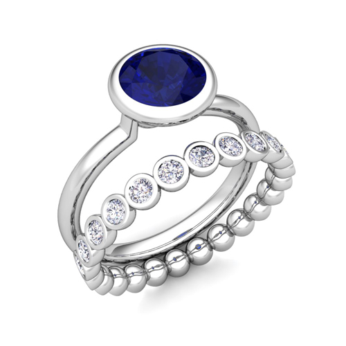 order now ships on monday 626order now ships in 6 business days bezel set blue sapphire ring and diamond wedding - Blue Sapphire Wedding Ring Sets