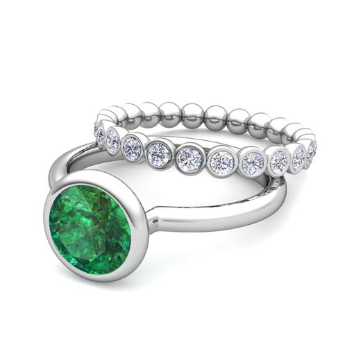 Emerald Ring and Diamond Wedding Ring Bridal Set in 18k Gold 6mm