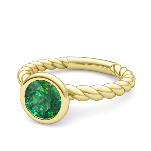 bezel set solitaire emerald engagement ring 14k gold rope