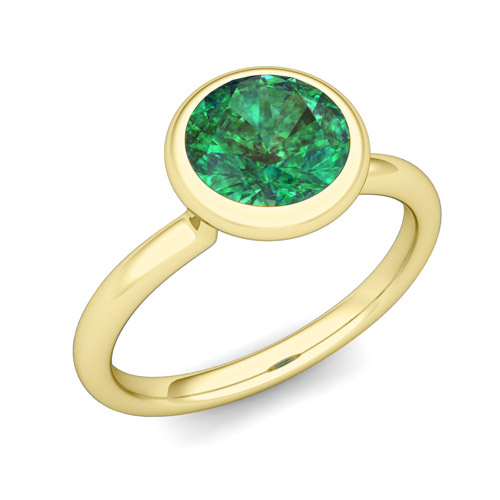 Bezel Set Solitaire Emerald Engagement Ring in 18k Gold 6mm