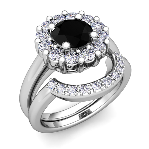Black Diamond Halo Engagement Ring Bridal Set in Platinum 6mm