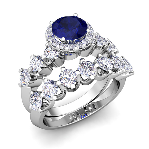 order now ships on tuesday 613order now ships in 5 business days bridal set of crown set diamond and sapphire engagement wedding ring in 14k gold - Sapphire Wedding Ring Sets
