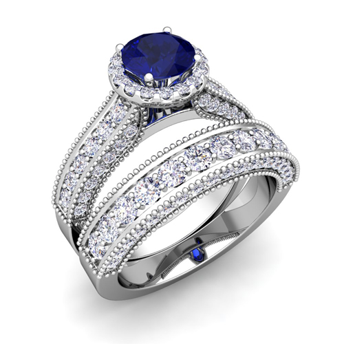 Sapphire Wedding Ring Sets Bridal Set Of Heirloom Diamond And Sapphire Engagement Wedding Ring In