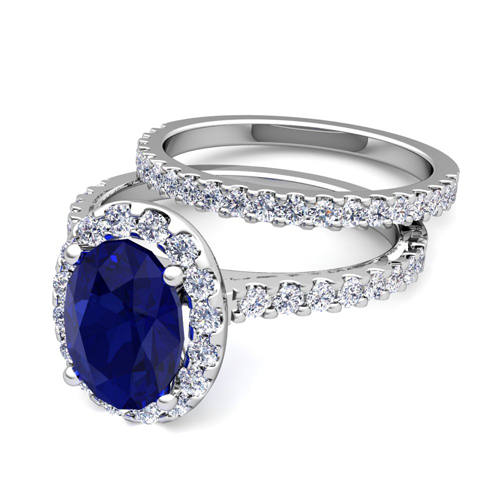 order now ships on wednesday 124order now ships in 5 business days bridal set pave diamond and sapphire engagement wedding ring in 18k gold 9x7mm - Sapphire Wedding Ring Sets