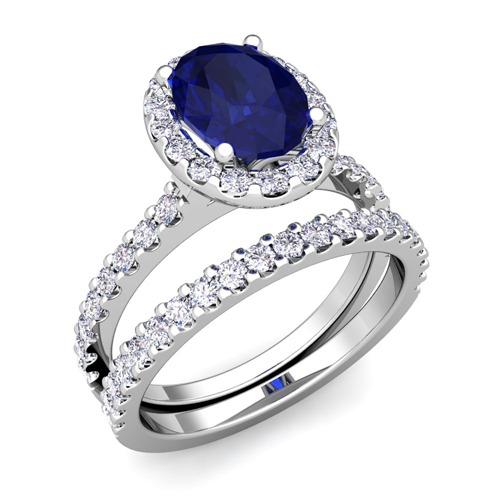 Halo Bridal Set Diamond Sapphire Engagement Ring 18k Gold 9x7mm