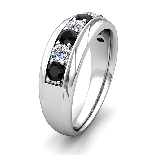 Mens White Gold Black And White Diamond Wedding Bands Order Now Ships on Friday