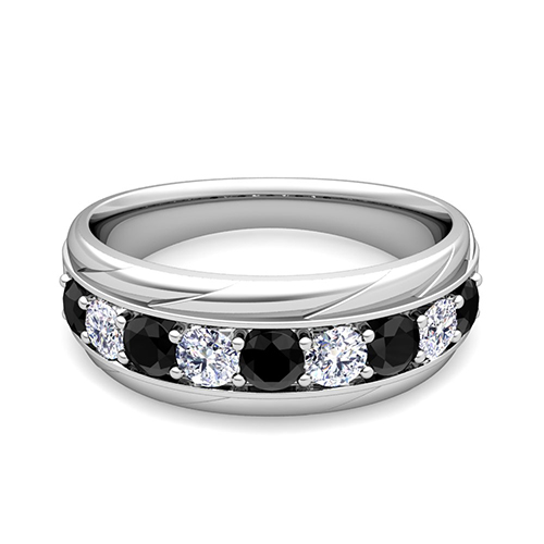Black And White Diamond Mens Wedding Band Ring In Platinum