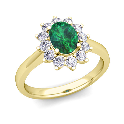 brilliant and emerald diana engagement ring in 14k