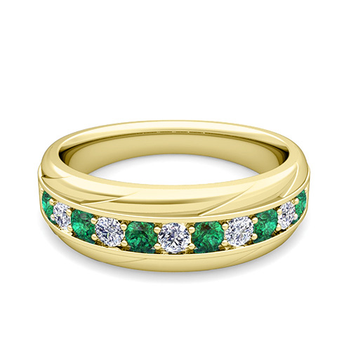 My Love Diamond and Emerald Mens Wedding Band Ring in 14k Gold