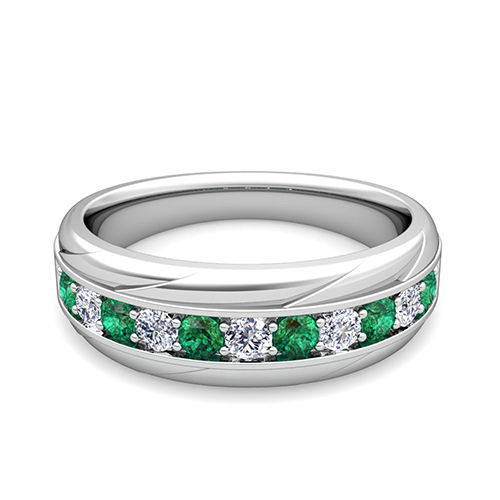 My Love Diamond And Emerald Mens Wedding Band Ring In Platinum