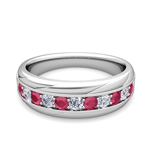 My Love Diamond and Ruby Mens Wedding Band Ring in 14k Gold