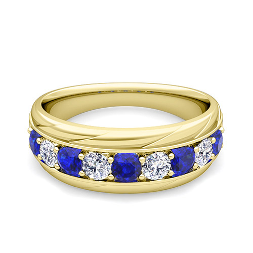 My Love Diamond And Sapphire Mens Wedding Band Ring In 14k Gold