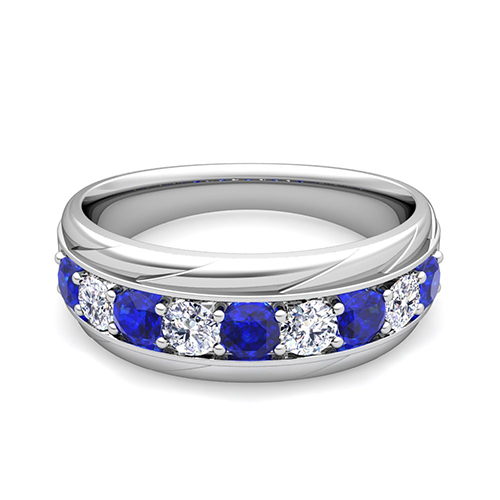 My Love Diamond And Sapphire Mens Wedding Band Ring In Platinum
