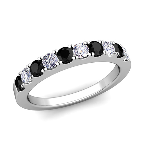 Pave Black and White Diamond Wedding Anniversary Ring Band 18k Gold