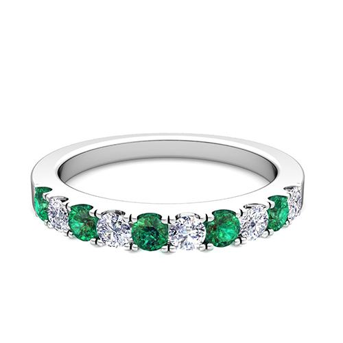 Pave Diamond And Emerald Wedding Anniversary Ring Band In