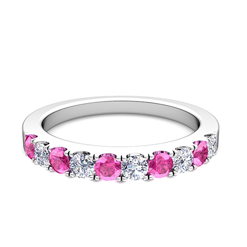 Order Now Ships On Monday 2 5Order In 6 Business Days Brilliant Pave Diamond And Pink Sapphire Wedding Ring