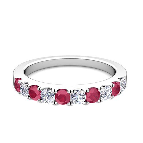 Order Now Ships On Friday 1 19Order In 5 Business Days Brilliant Pave Diamond And Ruby Wedding Ring Band