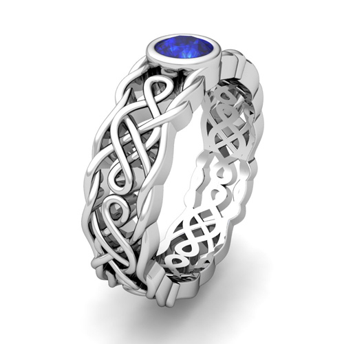 Build Celtic Knot Wedding Band Ring For Men With Gemstones Diamonds