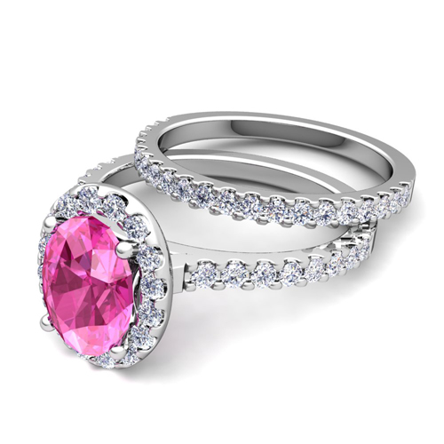 Create Your Own Halo Engagement Ring Bridal Set In Pave Diamonds