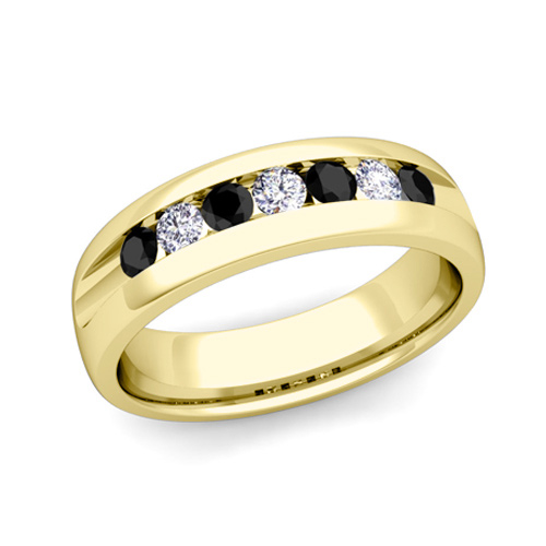 Mens Wedding Band In 14k Gold Channel Set 7 Stone Black Diamond Ring