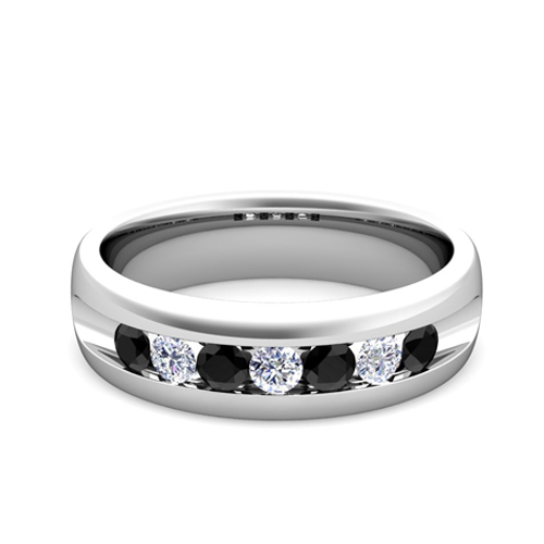 Custom Channel Set Wedding Band Ring for Men with Diamond Gemstone