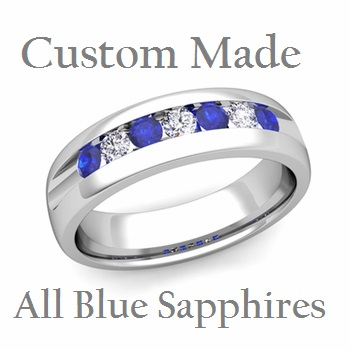 Set Blue Sapphire Mens Wedding Band in 14k White Gold 6mm Ring