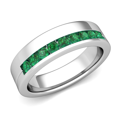 order now ships on thursday 622order now ships in 5 business days channel set comfort fit emerald wedding ring - Emerald Wedding Ring