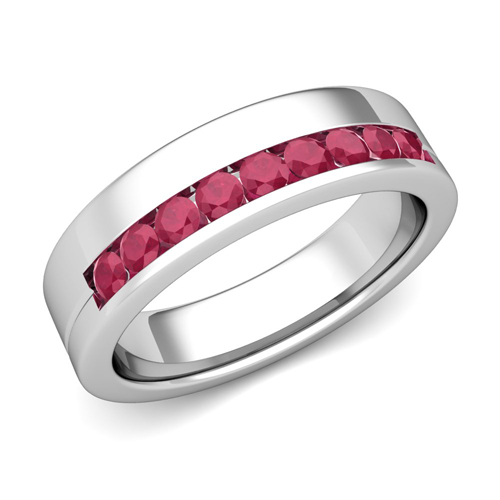Channel Set Comfort Fit Ruby Wedding Ring In 18k White Gold