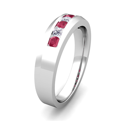 Channel Set Diamond And Ruby Mens Wedding Band In Platinum