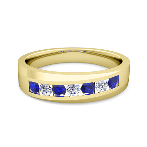 Channel Set Diamond And Sapphire Mens Wedding Band In 14k Gold