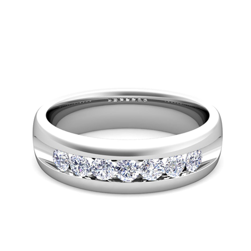 mens wedding band in platinum channel set 7 ring