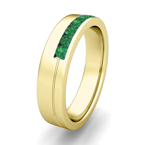 Channel Set Mens fort Fit Emerald Wedding Band in 18k Gold 5mm