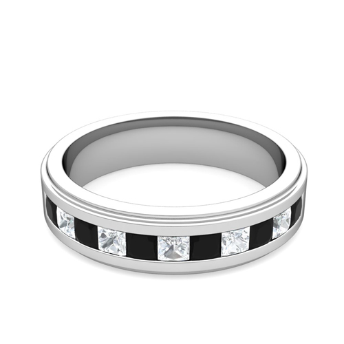 Princess Cut Black Diamond Mens Wedding Band Platinum