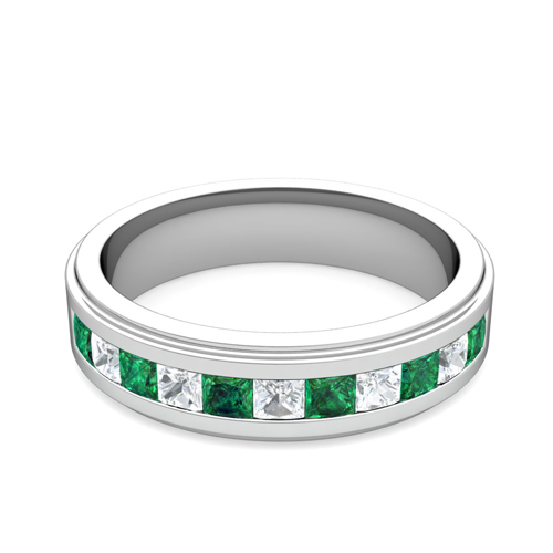 order now ships on wednesday 823order now ships in 5 business days channel set princess cut diamond and emerald mens wedding band