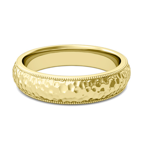 Mens Hammered Finish Wedding Band In 14k Gold Comfort Fit Ring 5mm