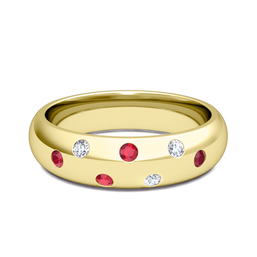 comfort fit scattered ruby and wedding band in 18k