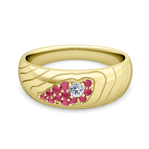 Contour Diamond And Ruby Mens Wedding Band Ring In 18k Gold