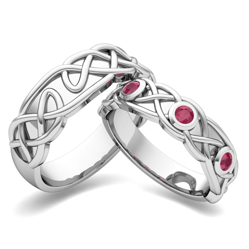 Create Celtic Knot Wedding Ring Band for Him and Her with Diamonds and ...