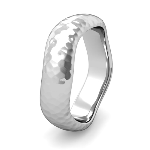 Curved Hammered Finish Wedding Ring 14k Gold Comfort Fit Band 6mm