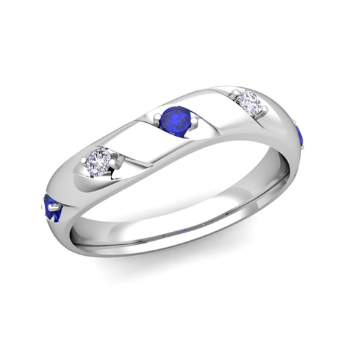 Curved Diamond and Sapphire Mens Wedding Band Ring in 18k Gold