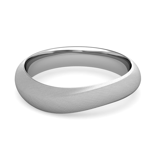 curved wedding band in 14k gold mens brushed finish ring 5mm