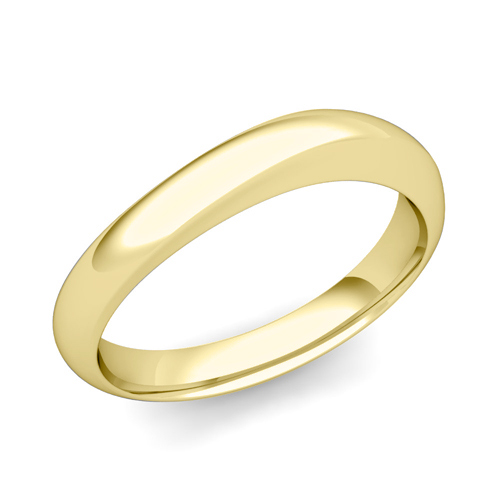 Curved Wedding Band In 14k Gold Mens Comfort Fit Ring 4mm